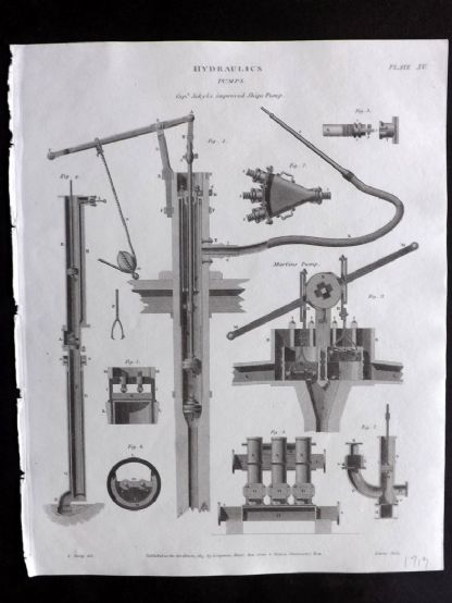 Rees 1820 Antique Print. Hydraulics 15 Pumps